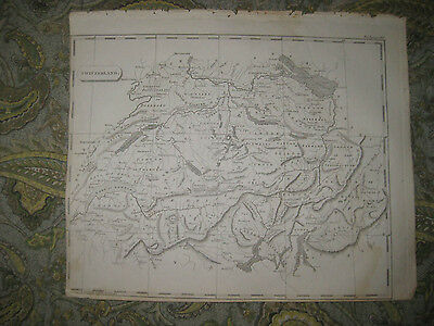 Fine Antique 1805 Switzerland Copperplate Map Grey League Of Gods House Grisons