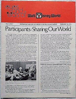 Rare Feb 1975 Disney Wdw Eyes & Ears Cast Newsletter Participant Relations