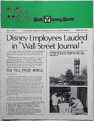 Rare Mar 1975 Disney Wdw Eyes & Ears Cast Newsletter Wall Street Journal Article