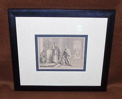 1900's German Bible Framed Woodcut Samuel Is Presented To The Lord Samuel 1 V 26
