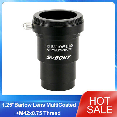 US 1.25'' 2X Barlow Lens Multi-Coated+M42x0.75 Thread Camera Connect Interface