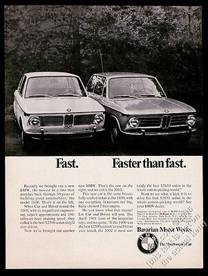 1968 BMW 2002 and 1600 car photo Faster Than Fast vintage print ad