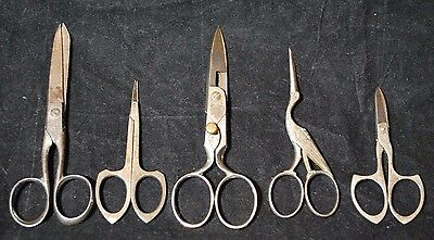 Set of 5 antique scissors C. KNAUTH. germany Simmons Howe Novelty cutlery crane