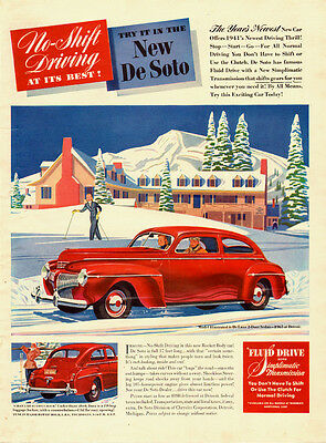 1941 classic car Ad, New De Soto red DeLuxe 2dr,  automatic transmission 101013