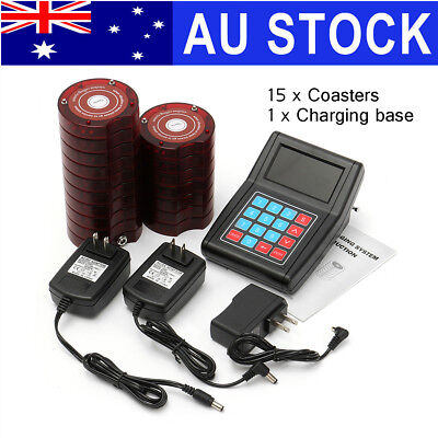 AU 16 Restaurant Coaster Pager Guest Wireless Paging Queuing System +Transmitter