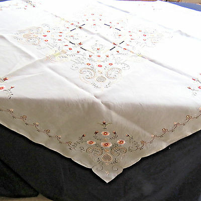 Antique Embroidered Floral Silk Tablecloth Table Topper 50 Square