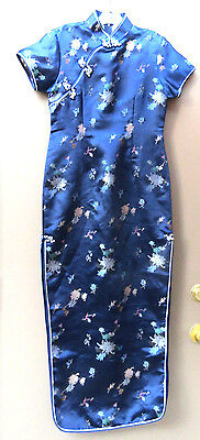 Cheong Sam Size S in Satin Blue Floral Brocade Long Dress
