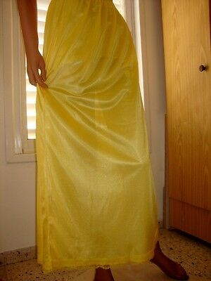 Sunburst Yellow Silky Lacy Long Formal Length Half Slip Petticoat M-L-XL  BNWT