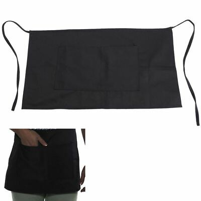 Plain Black Short Cooking Catering Work Restaurant Cafe Bar Apron Waitress