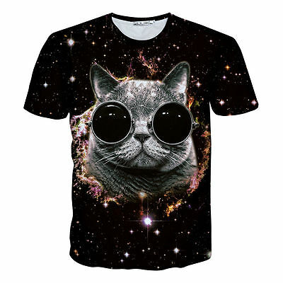 Mens 3D Print Cat Galaxy Space Universe Black Tops Graphic T-Shirt Casual Tee