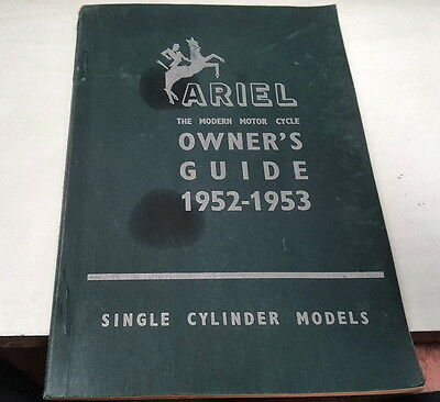 1952 1953 ARIEL MOTORCYCLE Owners Guide RARE