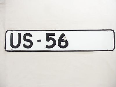 Vintage Sign US Highway 56 Steel Route Metal Road Marker 1940s Black and White