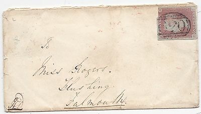 * 1849 Plymouth Devon =620= Numeral Cover Red Arrival Udc Flushing Cornwall