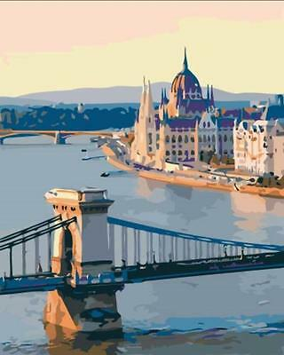 Framed Paint by Number Kit Vienna Budapest Chain Bridge DIY Painting DZ7176