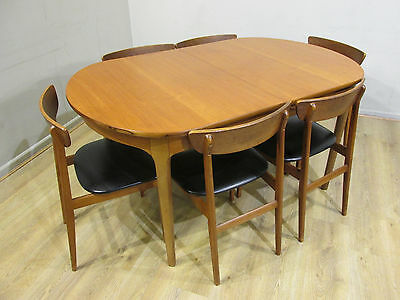 VINTAGE RETRO 70's TEAK DANISH STYLE OVAL EXTENDING DINING TABLE & 6 CHAIRS