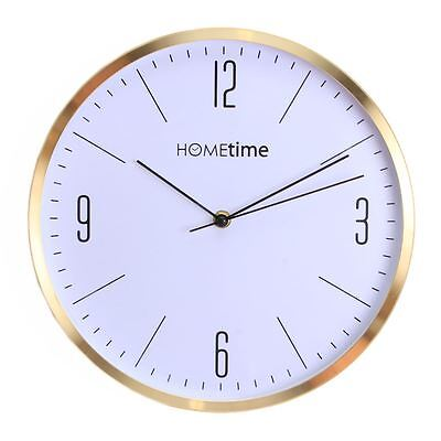 Hometime Gold Effect Finish Rim & White Marble Effect Face 30cm Wall Clock