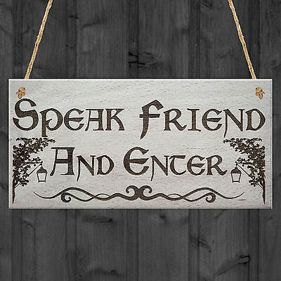 Speak Friend & Enter MAN CAVE GIFT Shed Door Hanging Plaque Dad Pub Bar Sign