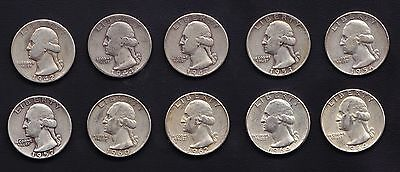 10 Washington Quarters 90% Silver 1.8085 Troy Ounces Silver Circulated US Coins