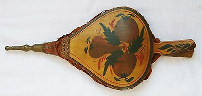 Antique Vtg. Tole Hand Painted Fireplace Bellows Wood Leather Brass Mid-19th c?