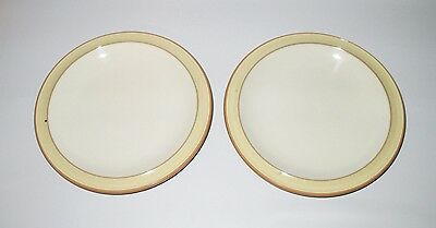 """Denby Fire 2 Bread Plates Cream Yellow Second Quality 7 1/4"""" Stoneware England"""