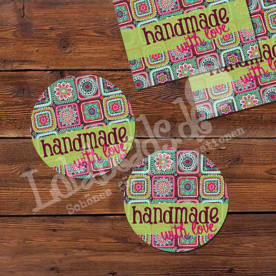 50 Aufkleber Sticker HANDMADE WITH LOVE bunt 30 mm rund - p00st0027-ei
