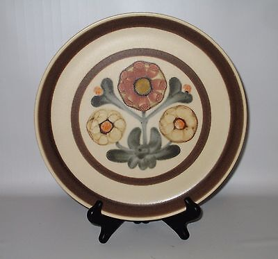 "Denby Langley Mayflower Dinner Plate 10"" Brown Yellow Flower Stoneware England"