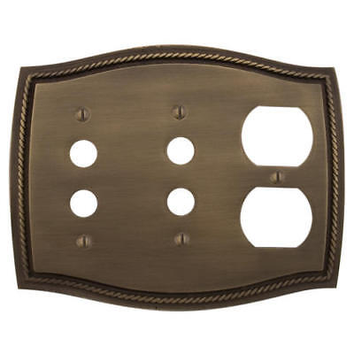 Signature Hardware Georgian Brass Double Push Button and Outlet Plate