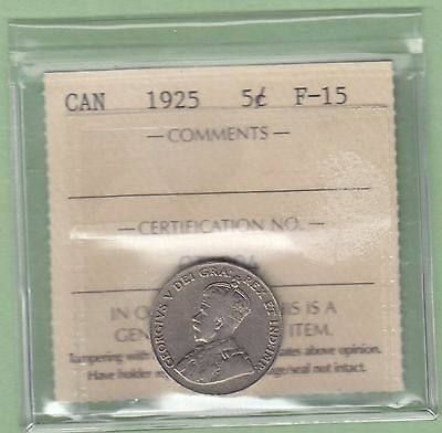 1925 Canadian 5 Cents Coin - Key Date - ICCS Graded F-15