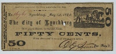 Virginia CITY OF LYNCHBURG 1862 Fifty Cents 50c Obsolete Scrip Note