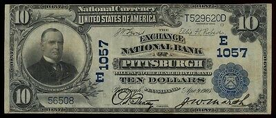 ICOIN 1902 Pittsburg Pennsylvania $10 Large Size National Banknote Ch#1057 FINE+