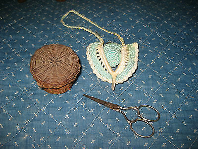 antique sewing scissors thimble &holder early small  thread basket