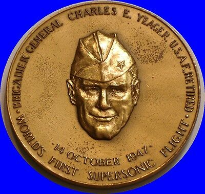 "CHARLES YEAGER USAF Supersonic Flight 3"" Bronze MEDAL U S MINT"