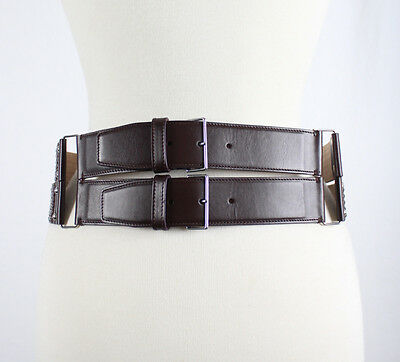 Alaia Women's Brown Quilted Leather Waist Double Buckle Belt Size 32 / 80