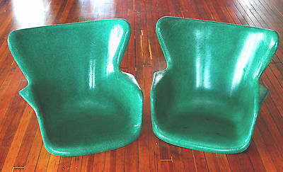 2 Vintage Eames Lawrence Peabody Fiberglass Shell Chair Green Selig Mid Modern