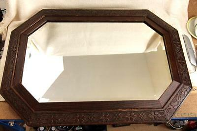 Large Antique Wooden Wall Mirror With Decorative Frame & Bevelled Glass #r645