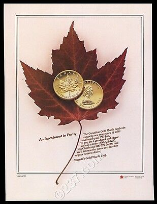 1981 Canada gold maple leaf coin photo vintage print ad