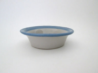 MA Hadley art pottery Louisville blue small pet water food bowl house