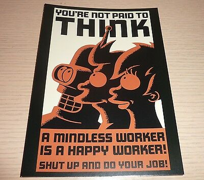 Rocket USA Large Postcard Mini Poster ~ Futurama  ... You're Not Paid To Think