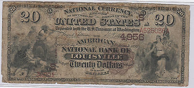 1882 $20 Brownback National Currency Bank of Louisville Kentucky CH. #4956