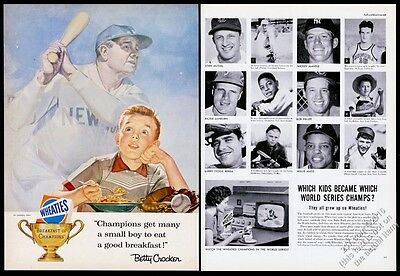1956 Babe Ruth Willie Mays Mickey Mantle photo Wheaties cereal vintage print ad