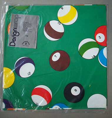 Pool table balls Billards gift wrapping paper  unopen vintage