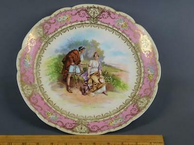 Antique Fine China Imperial Crown Austria Neo-Classical Couple Cabinet Plate