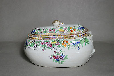 Rare ANTIQUE CHINESE EXPORT FAMILLE ROSE PORCELAIN BOURDALOUE BIDET c.1800 As Is