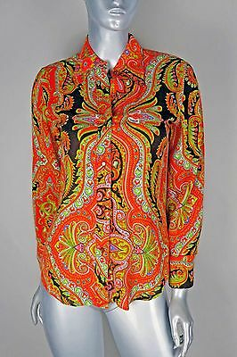Vtg Koret of California Womens MED Retro 70s Long Sleeve Button Up Paisley Shirt