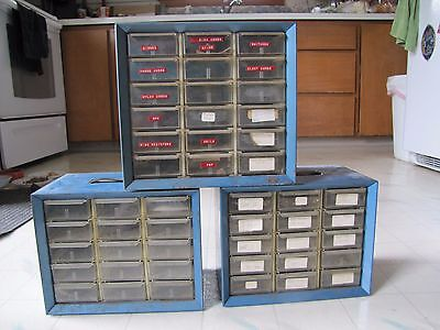 3 Akro-Mils metal storage cabinets, plastic drawers, hardware storage, parts bin