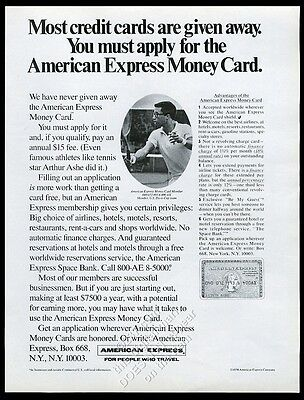 1970 Arthur Ashe photo American Express card vintage print ad