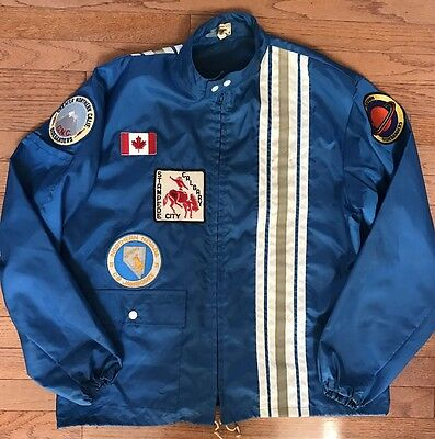 Vtg 70s Anton Racing Apparel Blue Nylon CB Sidebander Patches Jacket Size L