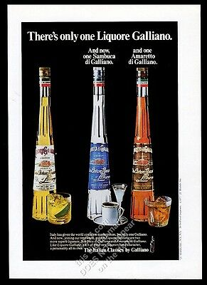 1977 Galliano liquore sambuca amaretto 3 bottle photo vintage print ad