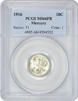 1916 Mercury Dime MS66FB PCGS Mint State 66 Full Bands