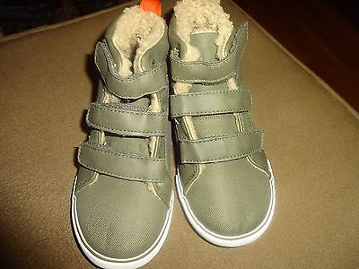 Gap Baby Toddler Boys Cozy Sherpa Lined  Hi Top Olive Green Shoes Boots Sneakers